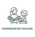 kindergarten teacherwoman reading line vector image
