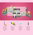mechanical belt conveyor isometric 3d poster vector image