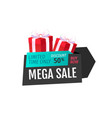 mega sale limited time only isolated gift label vector image vector image