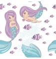 Mermaid fish sea travel seamless pattern
