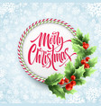 merry christmas lettering in circle candy cane vector image
