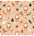 merry christmas seamless pattern with santa claus vector image vector image
