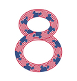 Number 8 made of USA flags on white background vector image vector image