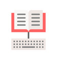 open book and keyboard icon e learning concept vector image vector image