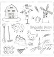 Organic farm hand drawn decorative icons set vector image vector image