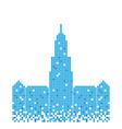 pixelated blue building mecca tower design vector image vector image