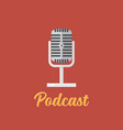 podcast logo design microphone flat icon vector image