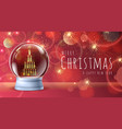 realistic snow globe with golden champagne bottles vector image