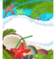 Sea background with palm trees and coconut vector image vector image