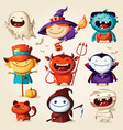 set halloween cartoon characters illust vector image