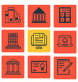 set of 9 school icons includes academy vector image vector image