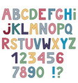 set of cute letters and numbers isolated on white vector image vector image