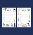 set wish list templates decorated by vector image vector image