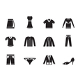 Silhouette Clothing Icons vector image vector image