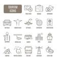 tourism icons set pictograph vector image