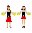 two girls with beer at the oktoberfest vector image vector image