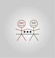 Two happy stick figures with house vector image vector image