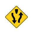 usa traffic road sign warning of divided hightway vector image vector image
