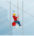 washing and cleaning the window with a squeegee vector image vector image