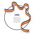 waving ribbon flag chad on circle frame vector image
