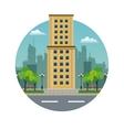 big building yellow brick urban stamp vector image