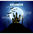 Forest with castle and moon Halloween background vector image