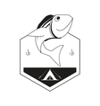 fishing emblem icon vector image