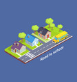 road to school through cottage town with crosswalk vector image
