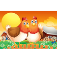 A farm with two hens above the fence vector image vector image