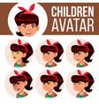 asian girl avatar set kid high school vector image vector image
