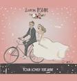 bride and groom on bike vector image