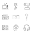 Broadcasting icons set outline style vector image vector image