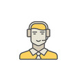 call center operator colorful icon man in vector image vector image