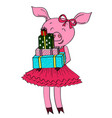 cartoon pig with gifts