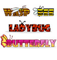 Cartoon stylised text insects name bee butterfly