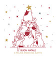 cat christmas tree with italian best wishes for vector image vector image