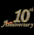 celebrating 10th anniversary golden sign with vector image vector image