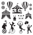 Circus Objects Icons Mono Set vector image vector image