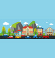 city scene with buildings and cars vector image