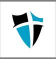 cross and shield faith christian church logo vector image