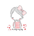 cute girl with bow for clothing vector image vector image