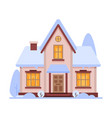 cute snowy house suburban cottage building vector image
