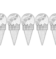Decorative border with patterned ice cream for vector image