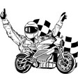 draw in black and white motorbike rider with vector image