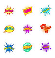 explosive stickers icons set cartoon style vector image