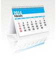 february 2014 desk calendar vector image vector image