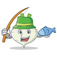 fishing turnip mascot cartoon style vector image