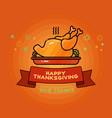 give thanks card cartoon turkey on orange vector image
