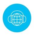Globe in headphones line icon vector image vector image