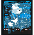 Halloween landscape with ghostly figure and vector image vector image